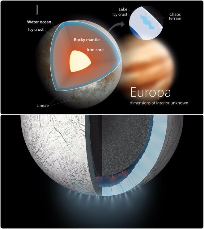 Vệ tinh Enceladus của sao Thổ và Europa của sao Mộc được cho là nơi tồn tại đại dương ngầm.