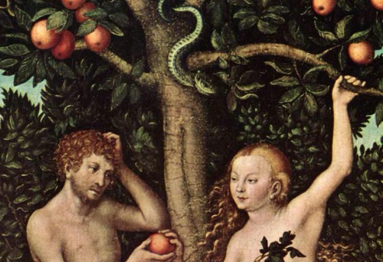 Adam và Eva bị con rắn dụ dỗ ăn Trái cấm.