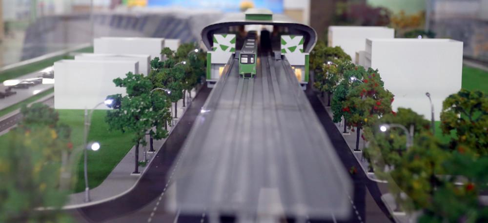 Tại tầng một của nhà ga mẫu này cũng trưng bày mô hình dự án từ điểm đầu đến điểm cuối.