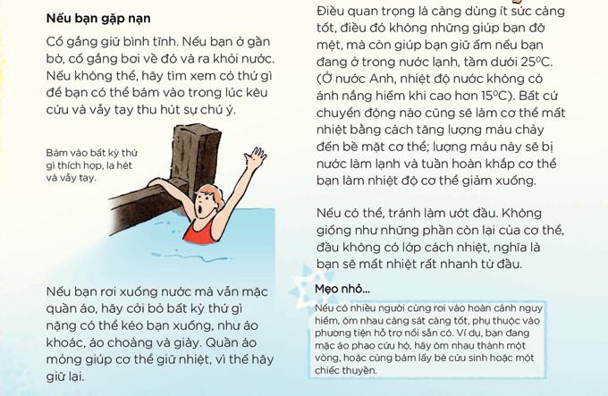 Khi rơi xuống nước mà vẫn mặc quần áo, hãy cởi bỏ bất cứ thứ gì nặng có thể kéo bạn xuống.