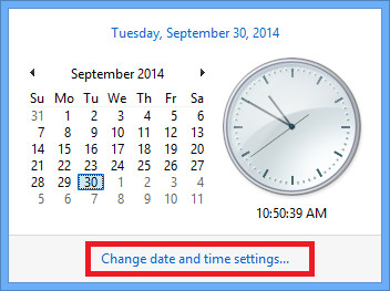 Change date and time settings.