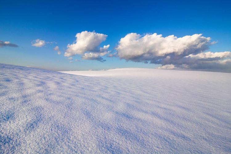 Những lớp tuyết dày bám bên trên những lớp cát ở Tottori vào mùa đông.