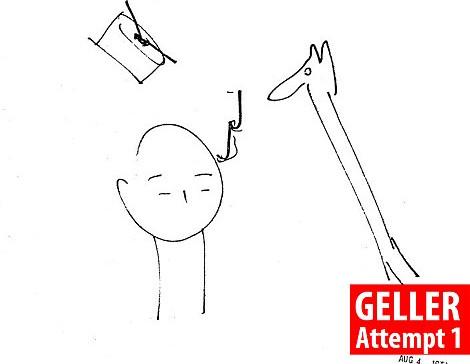 Geller đoán CIA vẽ ra là một khối hình trụ phát ra âm thanh.