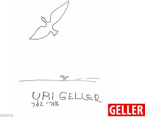 Ông Geller, gần như ngay lập tức, nói rằng ông thấy hình ảnh của một con thiên nga bay qua một ngọn đồi.