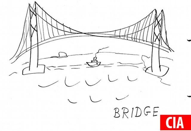 CIA vẽ cây cầu Cổng Vàng tại San Francisco.