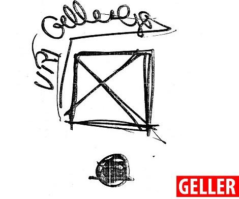 Geller vẽ ra một hình chữ nhật với những đường chéo vắt ngang qua.