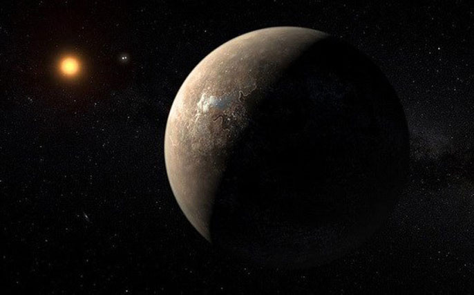 Mô phỏng Proxima b quay quanh ngôi sao Proxima Centauri.