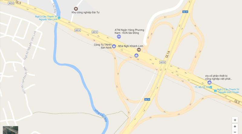 Bản đồ khu vực nút giao Thanh Trì - Quốc lộ 5.