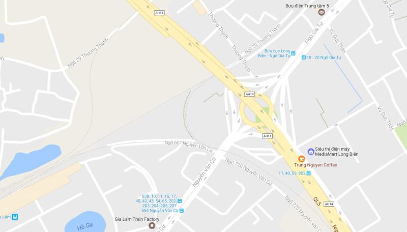 Nút giao trung tâm quận Long Biên.