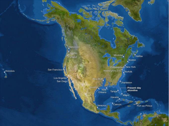 Nếu toàn bộ băng trên thế giới tan chảy vì biến đổi khí hậu, toàn bộ vùng bờ biển Đại Tây Dương ngày nay sẽ biến mất.