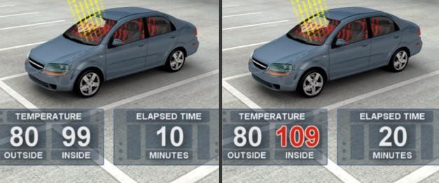 Để xe 10 phút dưới cái nóng 27 độ, trong xe sẽ nóng 37 độ.