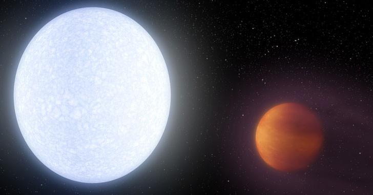 Minh họa ngôi sao KELT-9 và hành tinh khí KELT-9b.