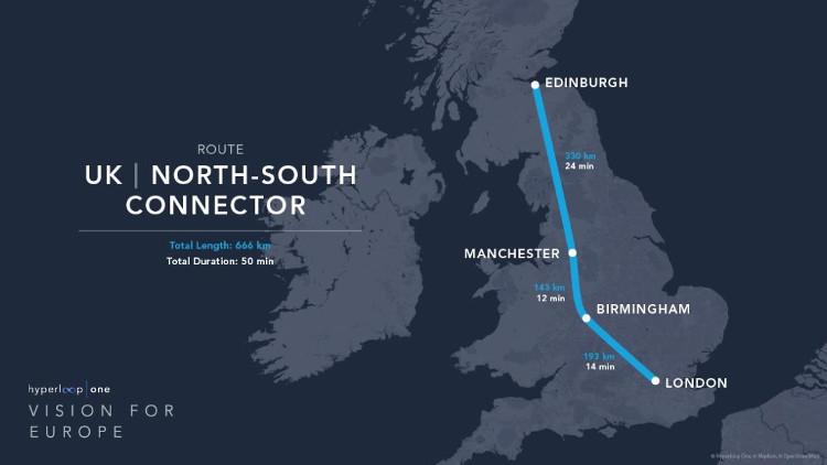 Công nghệ Hyperloop có thể thực hiện một chuyến đi từ London tới Edinburgh trong vòng 50 phút.