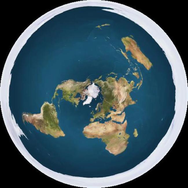 Mô hình Trái Đất phẳng, với Bắc Cực ở trung tâm và Nam Cực bao xung quanh.