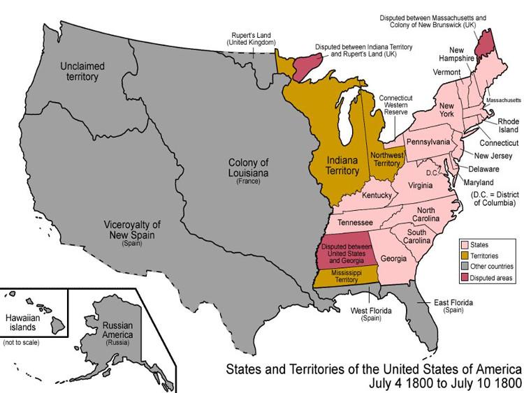 Bản đồ nước Mỹ nhỏ bé vào tháng 6/1800.