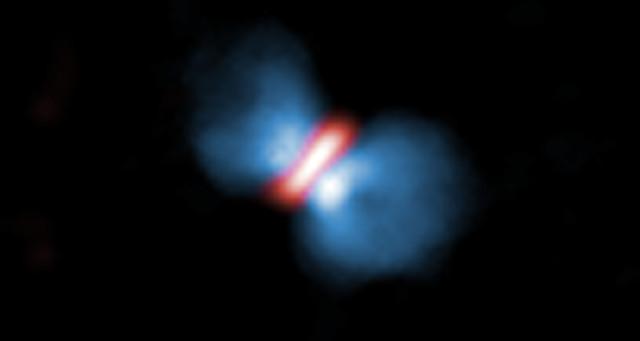 Luồng khí (màu xanh) bắn ra từ đĩa hình thành Orion KL Source 1.