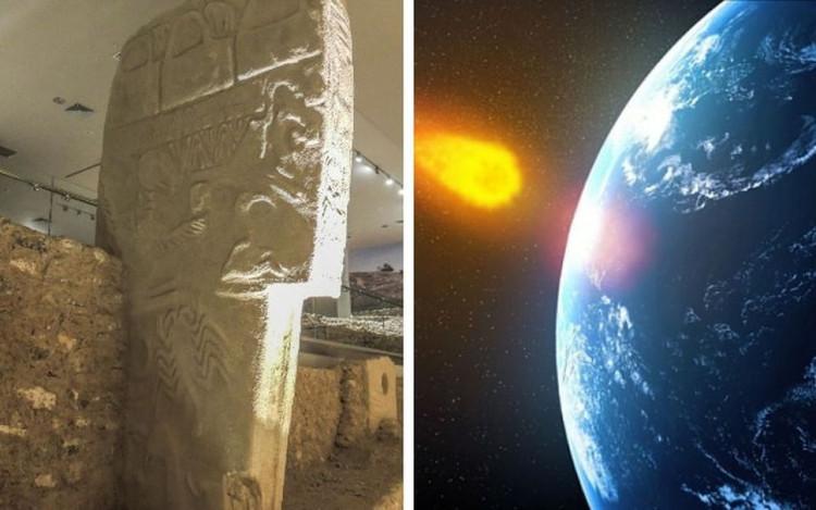 Các bức tranh khắc trên cột đá kể về sự kiện sao chổi va vào Trái Đất.