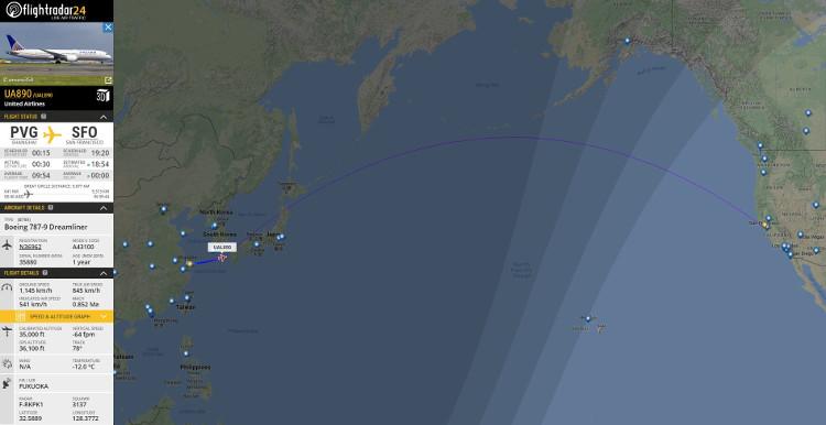 Bản đồ mô tả đường bay của chuyến bay UA890.