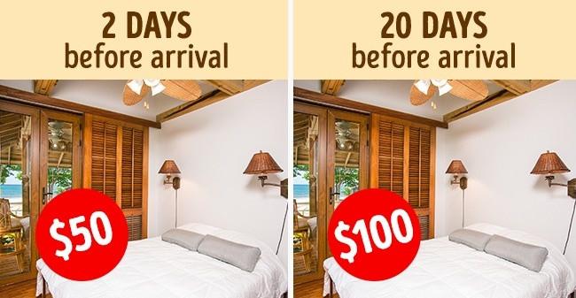 Nếu không quá gấp thì gần đến ngày đi hãy đặt phòng, bạn sẽ thuê được phòng với giá rẻ đấy.