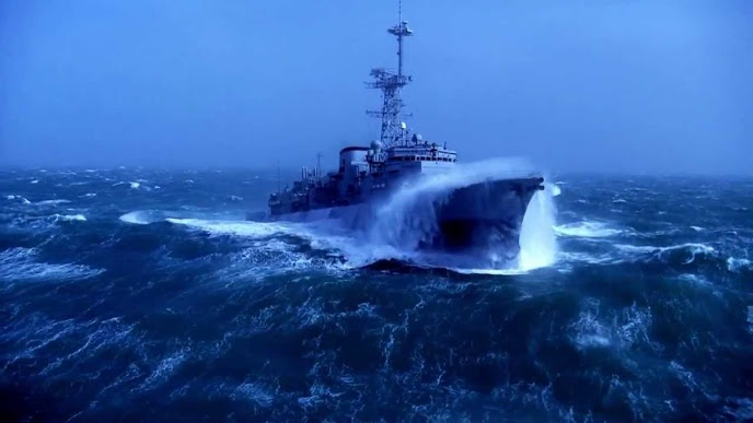 When modern warships confront ... sea storms