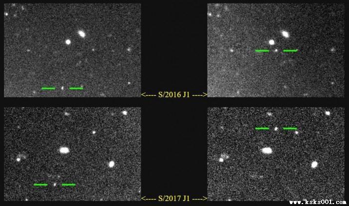 Hình ảnh 2 Mặt trăng mới bị kính thiên văn học bắt được khi bay ngang sao Mộc