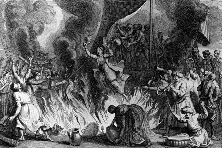 Người góa phụ phải dấn thân vào lửa chứng minh lòng tôn kính trước sự ra đi của chồng.