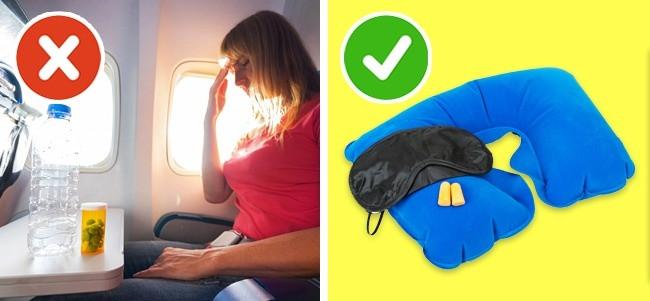 Nên chuẩn bị phụ kiện hỗ trợ như bịt mắt, tai nghe để giảm tiếng ồn máy bay...