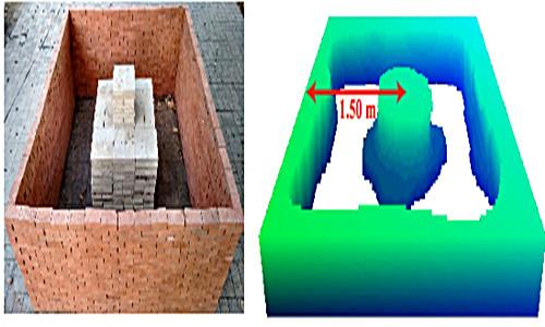 Kết cấu bên trong bức tường và kết quả hình ảnh 3D.