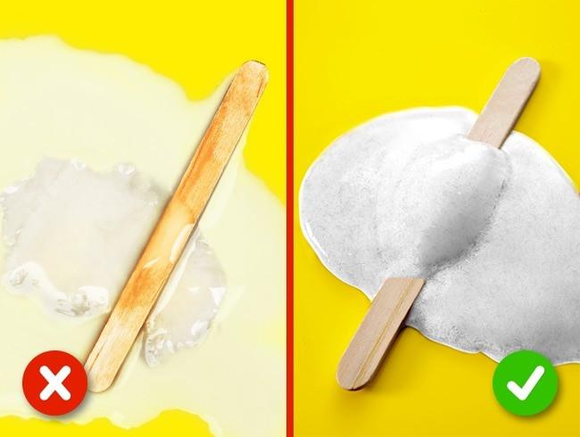 Kem có thành phần chất lượng tốt sẽ tan thành chất kem trắng dày.