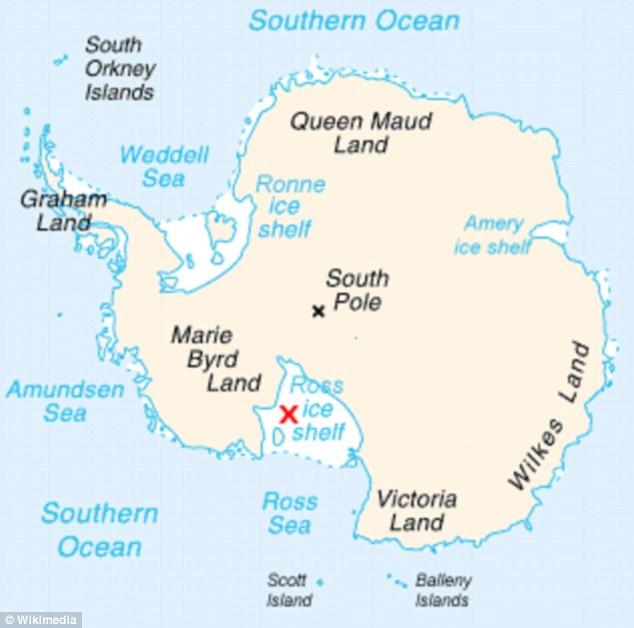 Vị trí của thềm băng Ross (dấu X đỏ) trên bản đồ.