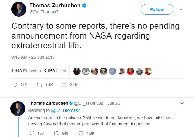 Thông báo của Thomas Zurbuchen trên Twitter