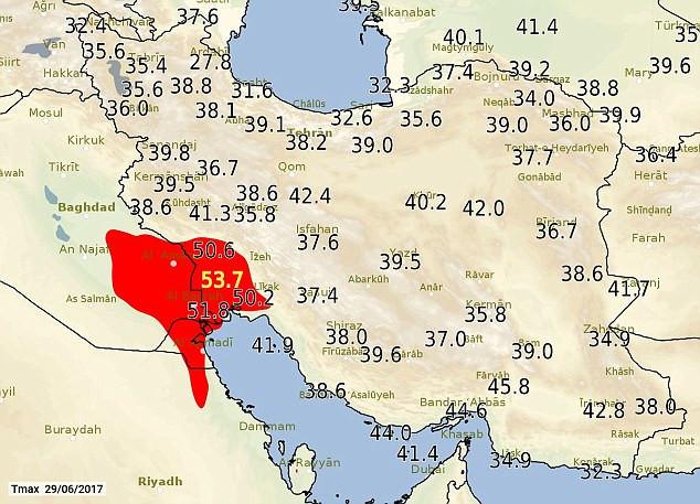 Nhiệt độ ở Iran lên tới 53,4 độ C.
