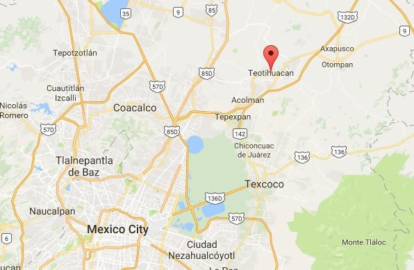 Khu di tích cổ Teotihuacan (dấu đỏ trên bản đồ)