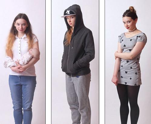 Kate tái hiện kiểu ăn mặc của 3 trong số 120 nhân cách.