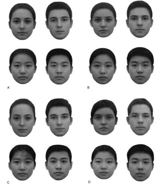 A và C là những khuôn mặt giàu hơn người thường, còn B và D là nghèo hơn.