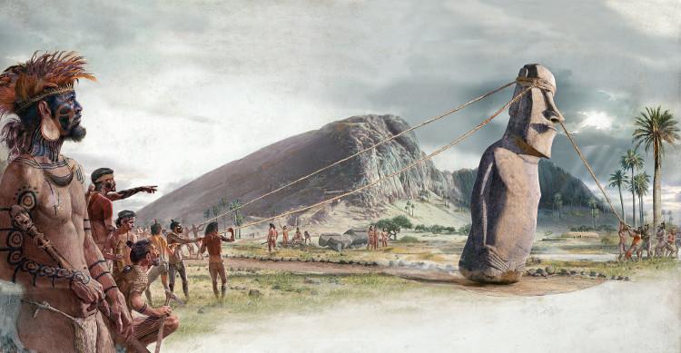 Người Rapa Nui cổ đã dựng lên những bức tượng mặt người nổi tiếng.