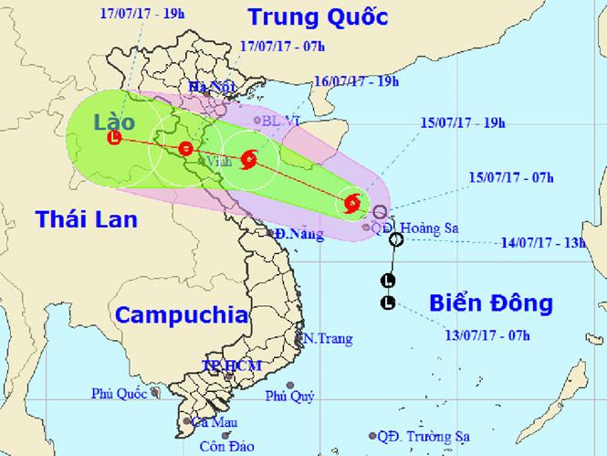 Bản đồ dự báo đường đi của cơn bão số 2