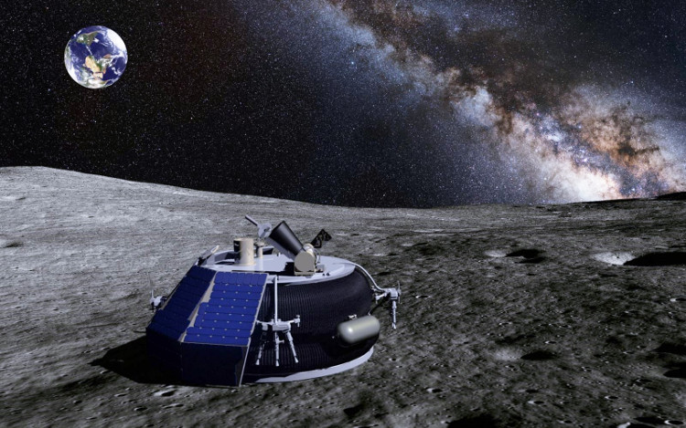 Mô phỏng tàu thăm dò của Moon Express đang lăn bánh trên bề mặt Mặt Trăng.