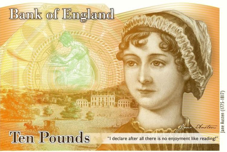 Hình ảnh Jane Austen xuất hiện trên tờ 10 bảng Anh