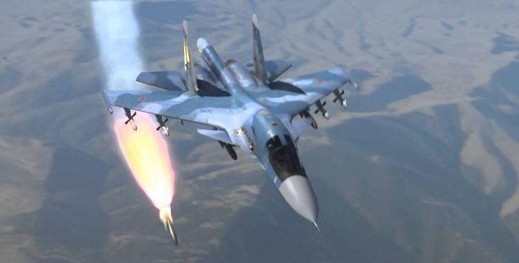 Máy bay chiến đấu Su-34 bắn tên lửa.