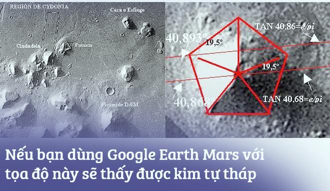 Dùng Google Earth tìm ra kim tự tháp trên sao Hỏa