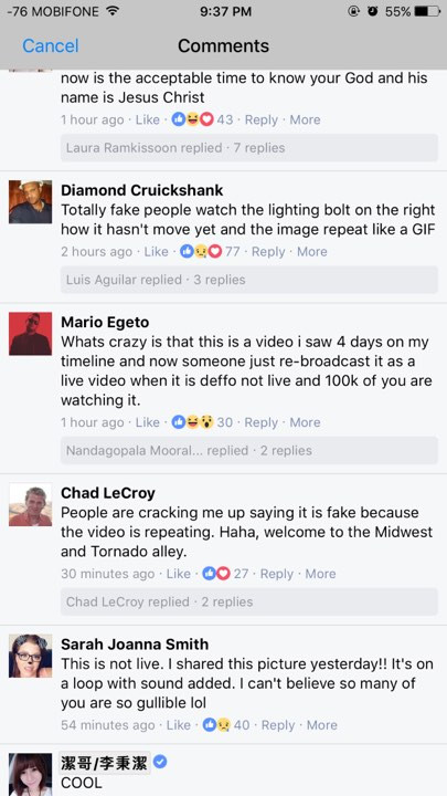 Nhiều comment cho rằng video này không phải đang phát trực tiếp.