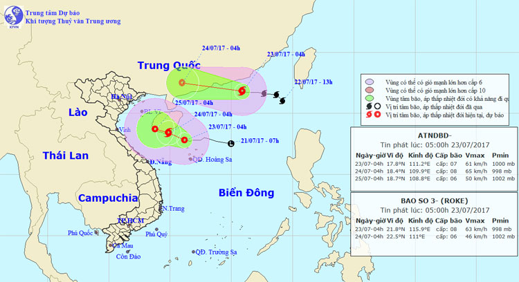 Bão số 3 đi vào đất liền tỉnh Quảng Đông, trong khi áp thấp nhiệt đới trong hôm nay có khả năng mạnh lên thành bão.
