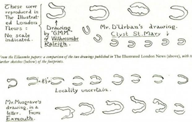 Các phác thảo đơn giản về những dấu chân có hình móng ngựa.
