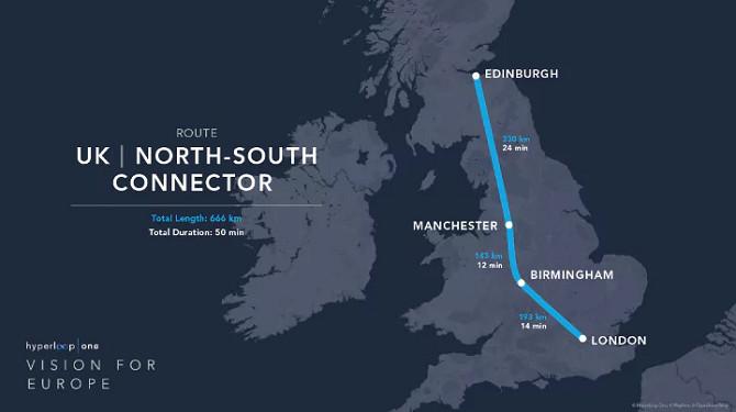 Một trong ba hệ thống Hyperloop được dự kiến triển khai ở Anh.