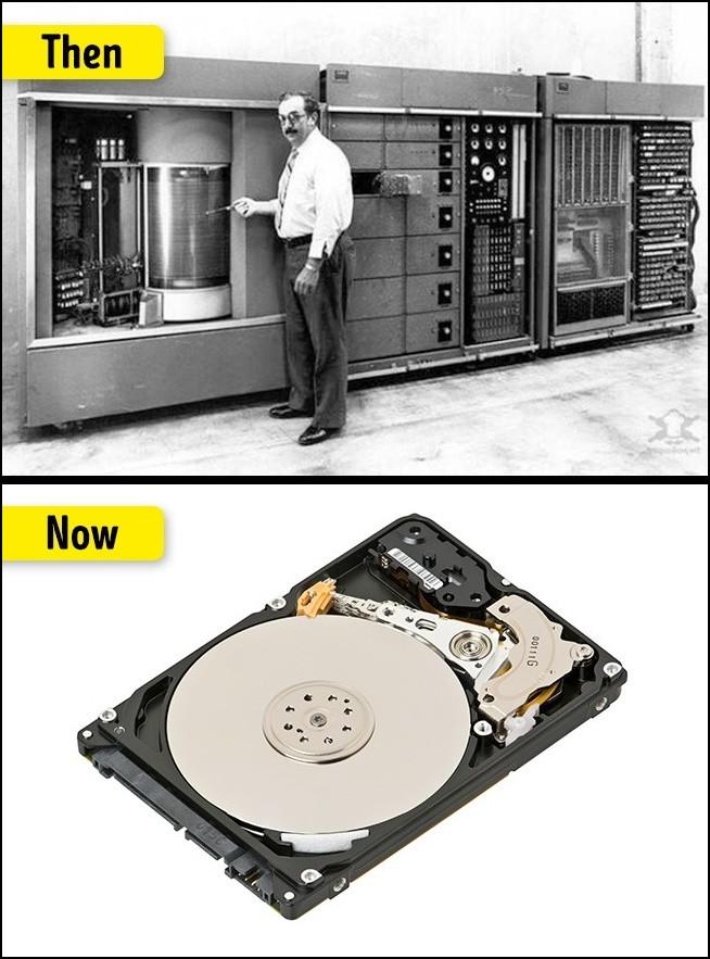 Ổ cứng ngày trước to nặng là vậy mà chỉ chứa được 5MB lượng thông tin mà thôi.