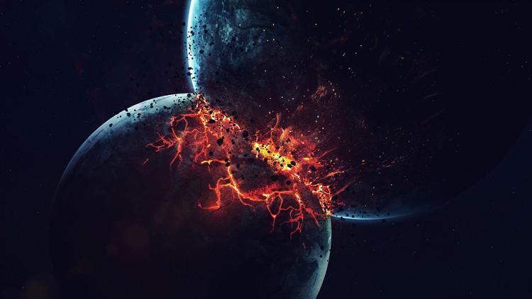 Minh họa cảnh hai hành tinh đâm vào nhau.