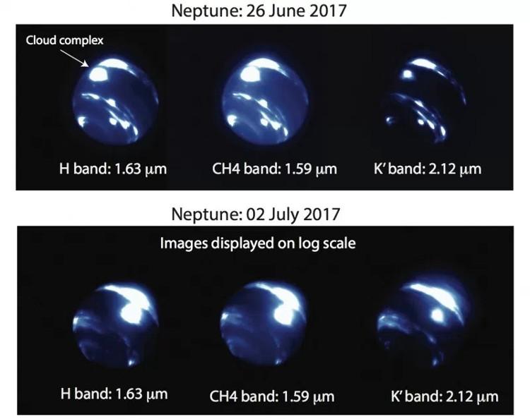 Các nhà nghiên cứu quan sát Sao Hải Vương tìm thấy một đám mây bão khổng lồ, phát sáng ở vùng xích đạo hành tinh này.
