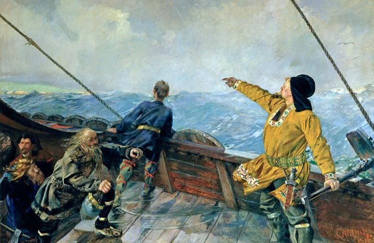 Leif Erikson trong chuyến thám hiểm đến châu Mỹ (tranh vẽ của Christian Krohg năm 1893).