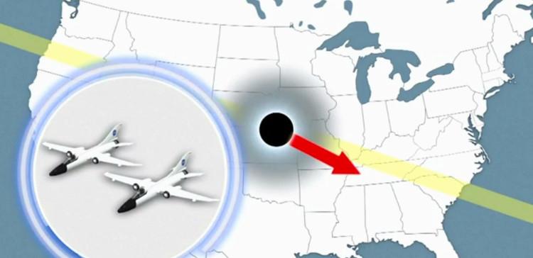 Máy bay của NASA bám sát nhật thực.
